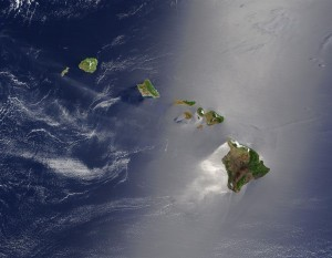 Image satelitte de l'archipel d'Hawai  NASA. Image courtesy Jacques Descloitres, MODIS Land Rapid Response Team at NASA GSFC. (IotD Date: 2003-06-03. IotD ID: 15304)