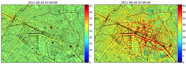 Comparaison entre simulation seule (à gauche) et simulation + assimilation des données observées (droite). Les cercles indiquent les mesures fournies par Airparif.