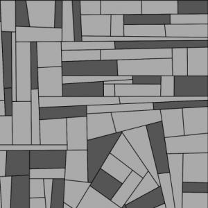 Simulation de différents scénarios d'allocation de deux variétés : à gauche scénario complètement aléatoire, à droite scénario agrégé.